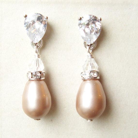 Champagne Pearl Bridal Earrings Modern Vintage Sterling Silver Wedding Pearls