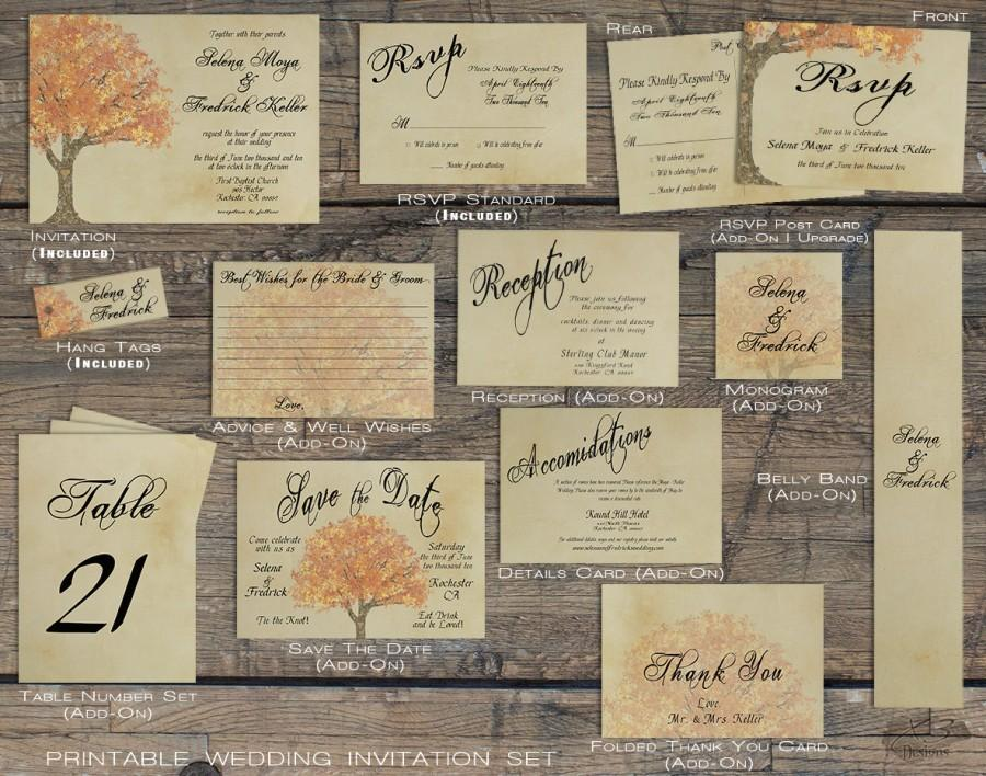 Rustic Fall Wedding Invitation Suite Autumn Barn Country Printable Tree Invite Diy