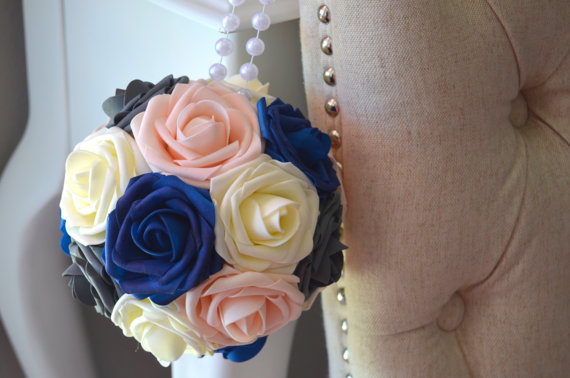 Ivory Grey Pink Blush Royal Blue Wedding Foam Flower With Pearl Handle Decor Choose Your Rose Colors