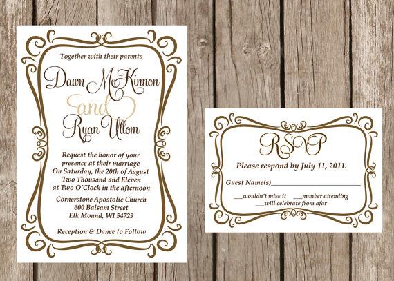 Modern Wedding Invitation Flourish Frame Simple Custom Invitations