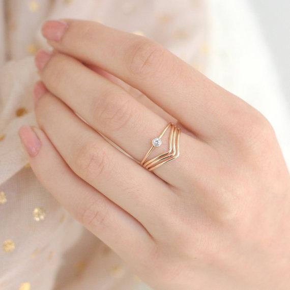Gold Ring Set FOUR Chevron Diamond Ring Gold Filled Stacking