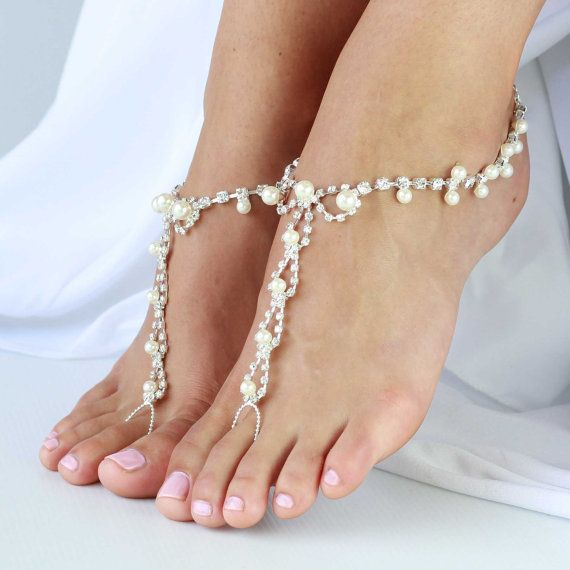 1 Pair Barefoot Sandals Foot Jewelry For Beach Weddings White Pearl And Rhinestone Beads One Size Fits All Lai Lani