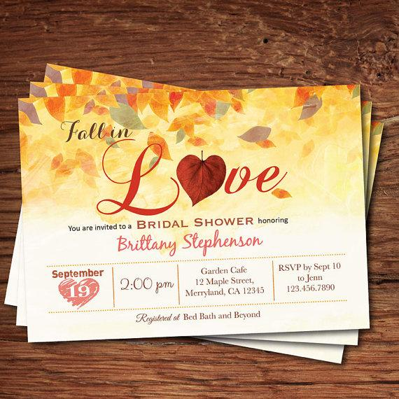 Fall Bridal Shower Invitation In Love Rustic Autumn Leaves Printable Digital Invite Bs117