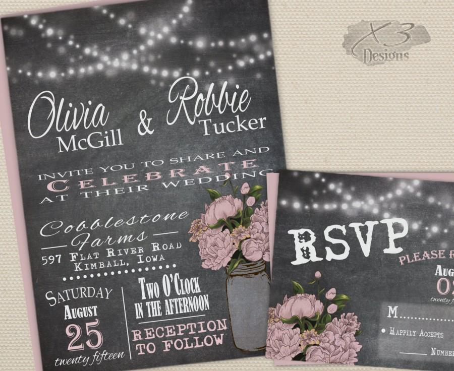 Rustic Mason Jar Wedding Invitation Blush Chalkboard Invite Printable
