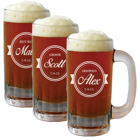 Attractive Personalized Beer Mug Glasses, Beer Mugs, Groomsmen Gift, Beer  LZ03