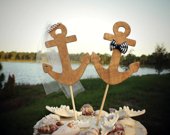 Navy Wedding Anchors Away Cake Topper Boat Sailing Nautical Theme Beach