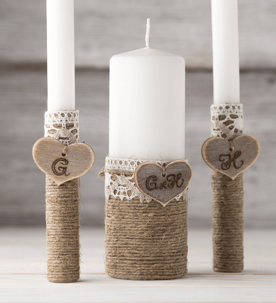 Personalized Unity Candle Set Wedding Candles Ceremony Rustic Heart