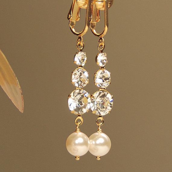 Rhinestone And Swarovski Pearl Gold Clip On Earring Clipon Long Dangle Wedding Bridal