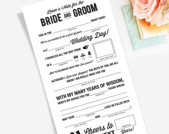 Wedding Mad Libs Printable Template Kraft Sign Card Marriage Advice Keepsake