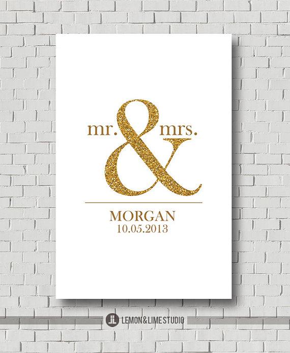 Unique Wedding Gift Print Custom Guest Book Keepsake Bridal Gold And Sparkle Decor Poster