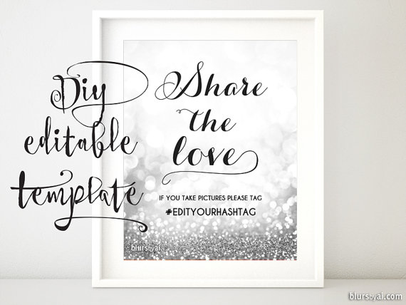Printable Hashtag Sign Template Diy Wedding Share The Love Glitter Silver For Word Gp266 Norah