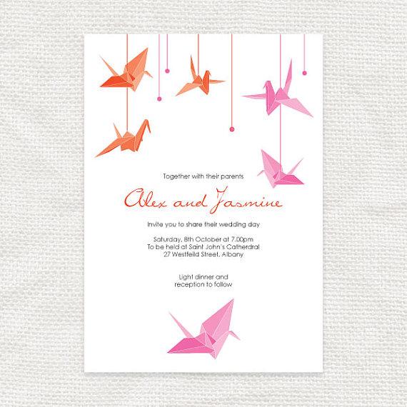 Paper Crane Printable Wedding Invitation Origami Bird Invite Asian Hiness Anese Chinese Pink Orange Bridal Shower Customised