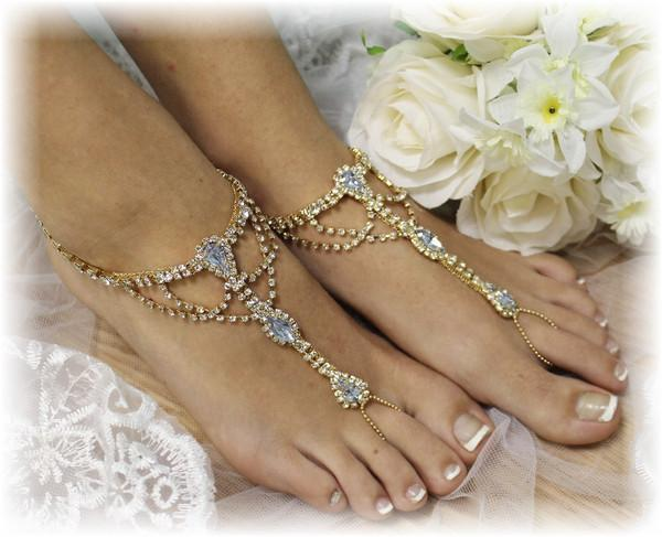 Barefoot Sandals Beach Sandle Rhinestones Something Blue Foot Jewelry Tropical Bridal Shoes Gold