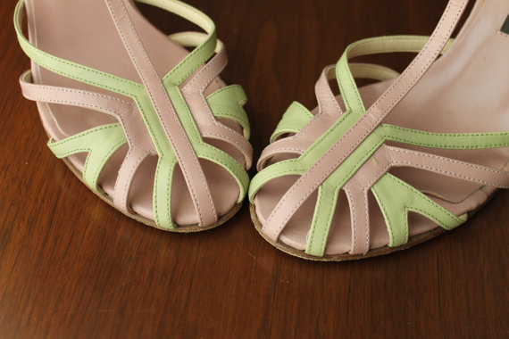 Vintage T Strap Shoes Summer Beach Wedding Bridesmaid Italian Leather Women S High Heels Pink Green Rockabilly Pin Up