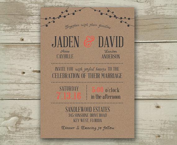 Wedding Invitation Invitations Invite Invites Announcement Announcements Burgundy Grey Navy Mint Blue Aqua C Peach Pink Beach Country