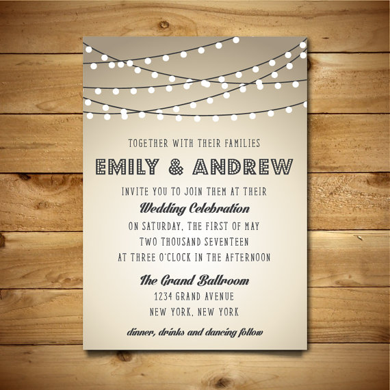 Printable Vintage Style Wedding Invitation Template String Lights Brown Grey White Instant Editable Ms Word Doc