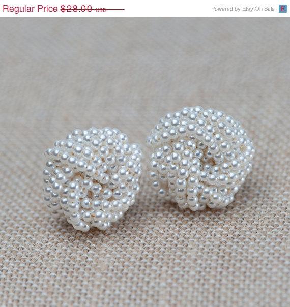 On Pearl Earrings Knot Post Bridal Vintage