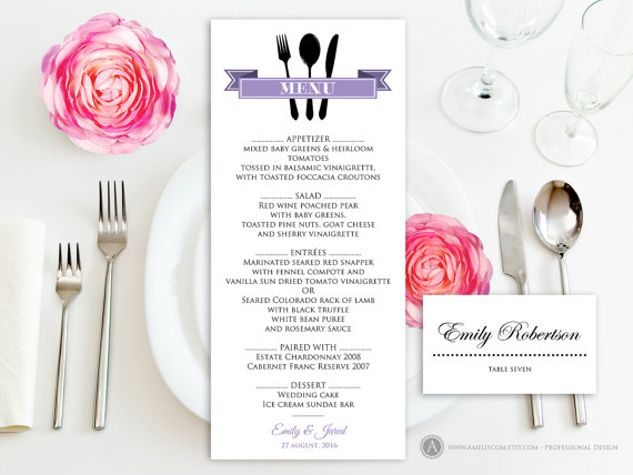 Printable Dinner Menu Lilac Free Place Card For Wedding Reception Anniversary Rehearsal Instant Editable Pdf Template