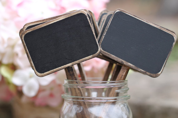 Chalkboard Table Numbers Rustic Signs Distressed Wedding Sticks Cupcake Topper Shabby Chic Set Of 5