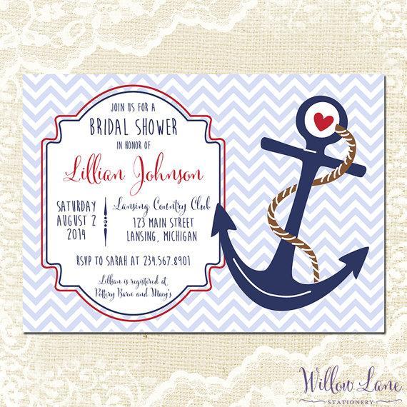Nautical Bridal Shower Invitation Anchor Invite Red Navy Blue Chevron Wedding 1196 Printable