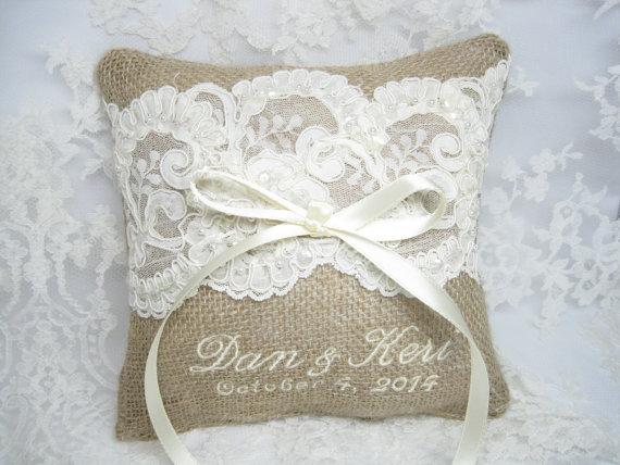 Ring Bearer Pillow Lace Rustic Wedding