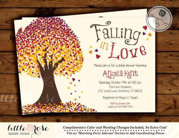 Falling In Love Invitation Fall Wedding Shower Bridal Invite Leaves Tree Baby Printable