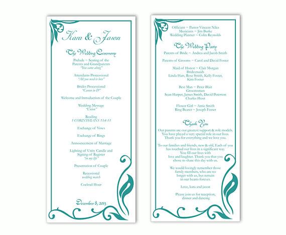 Wedding Program Template Diy Editable Text Word File Teal Blue Printable 4x9 25inch