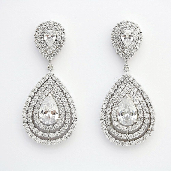 Wedding Earrings Bridal Jewelry Crystal Large Cubic Zirconia Teardrop