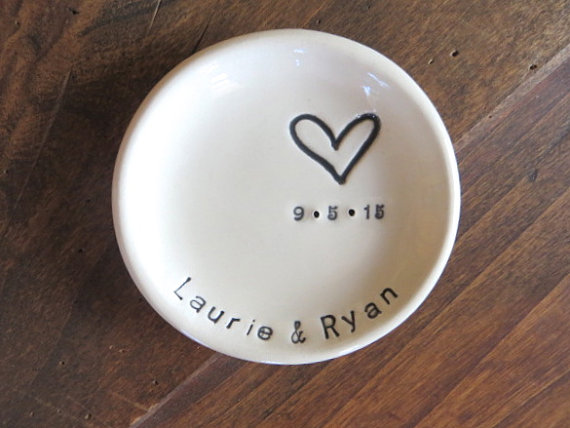 Ring Dish Wedding Holder Engagement Gift Mr And Mrs Handmade Earthenware Pottery Boxed Made To Order