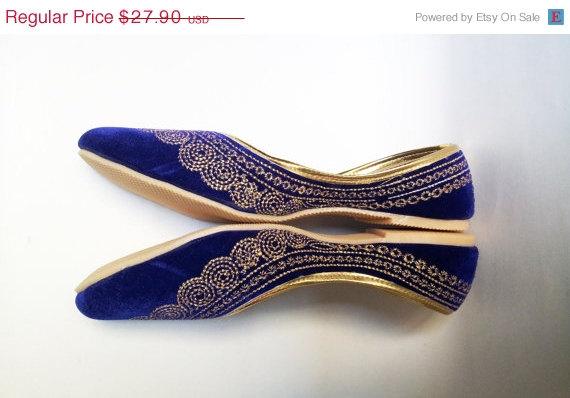 15 Summercelebration Royal Blue Shoes Velvet Gold Embroidered Designer Navy Ballet Flats Women Wedding Shoe