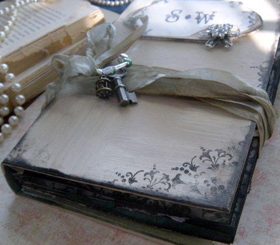 Wedding Guest Book Handmade Custom In Shabby Chic Vintage Style