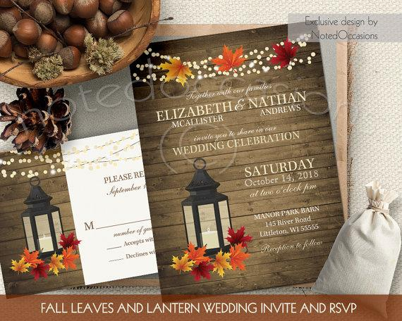Rustic Fall Wedding Invitations Set Metal Lantern
