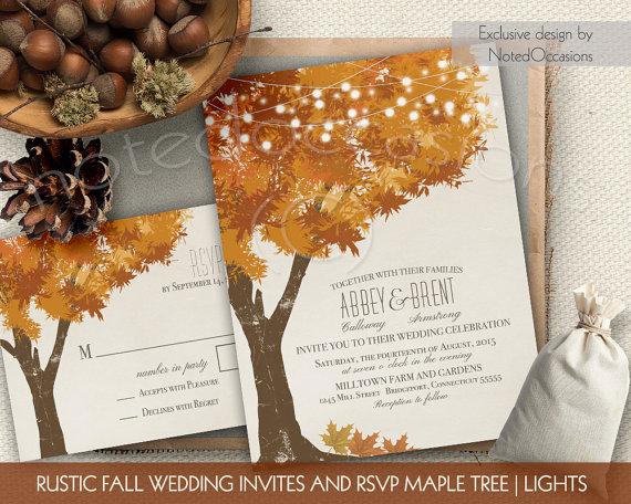 Rustic Fall Wedding Invitations Kit Autumn Oak Tree With Leaves Invitation Digital Printable Set