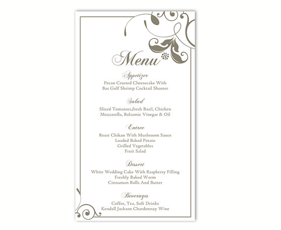 Wedding Menu Template Diy Card Editable Text Word File Instant Gray Fl Printable 4x7inch