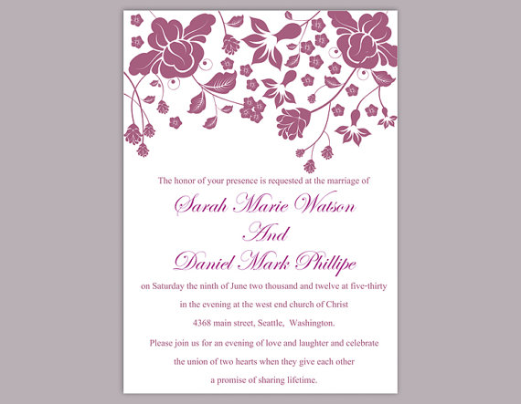 Diy Wedding Invitation Template Editable Word File Instant Printable Eggplant Invitations Flower