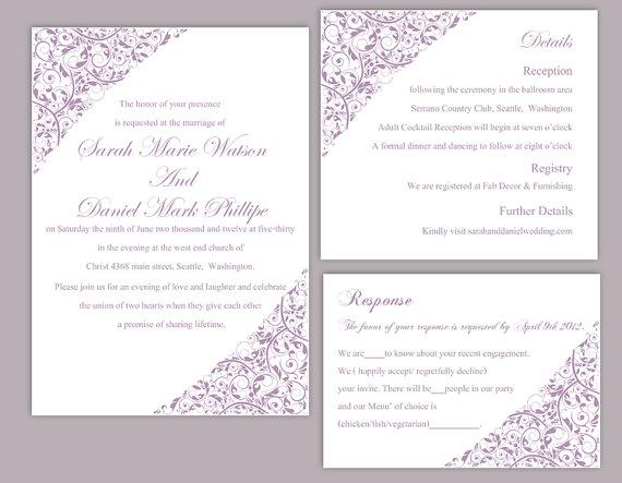 Diy Wedding Invitation Template Set Editable Word File Instant Printable Lavender Fl