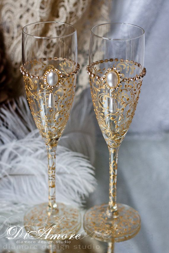 Special Item Gold Art Deco Gatsby Style Wedding Champagne Flutes Gles Feather Set Of 2
