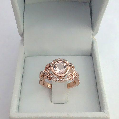 14k Rose Gold Vintage Morganite Engagement Ring Diamond Wedding