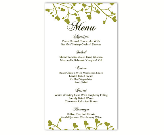 It's just an image of Printable Menu Template in editable