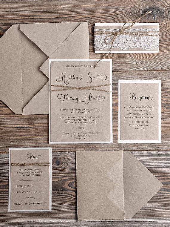 Rustic Wedding Invitations 20 Country Style Lace Invitation Craft Invites