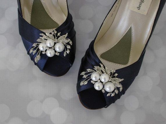 Navy Wedding Shoes Pearl Bridal Bride On Budget Blue Low Heel Satin