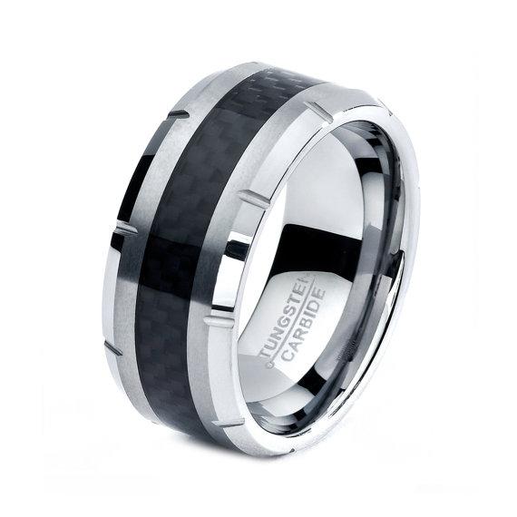 Black Tungsten Ring Men Rings Wedding Bands Mens Band Women