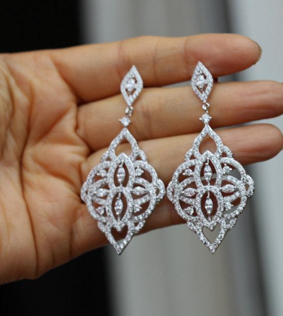 Silver Crystal Bridal Earring Jewelry Chandelier Wedding Earrings