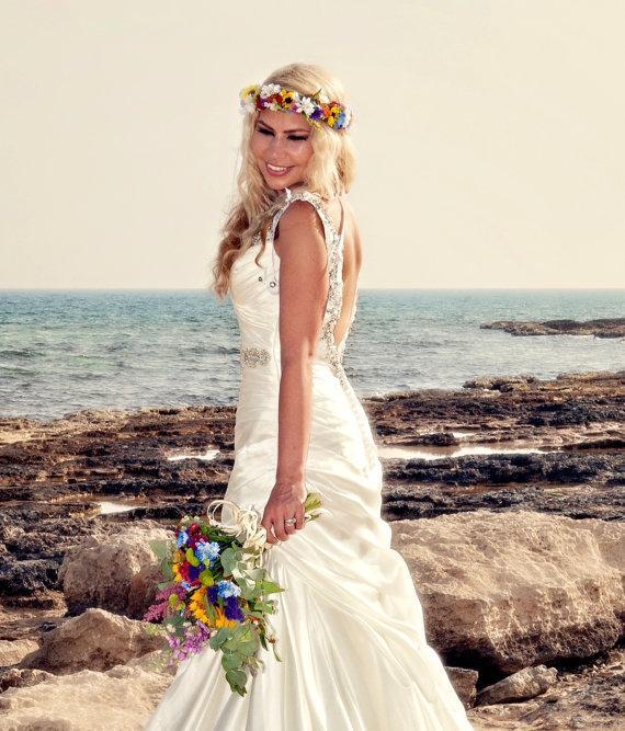 Bridal Flower Crown Colorful Hair Wreath Fairy Halo Wedding Party Accessories Summer Beach Headress Festival
