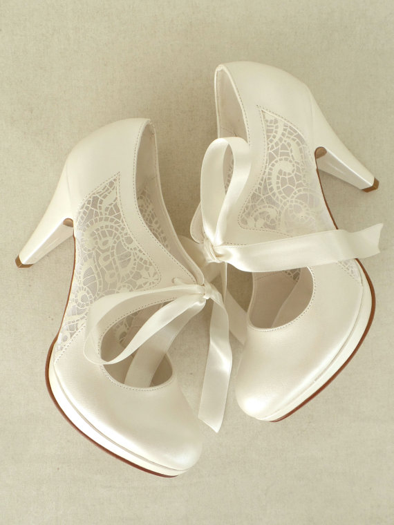 Lace Insert Bridal Shoes With Ribbons In Ivory 4 Heels Elegant Wedding