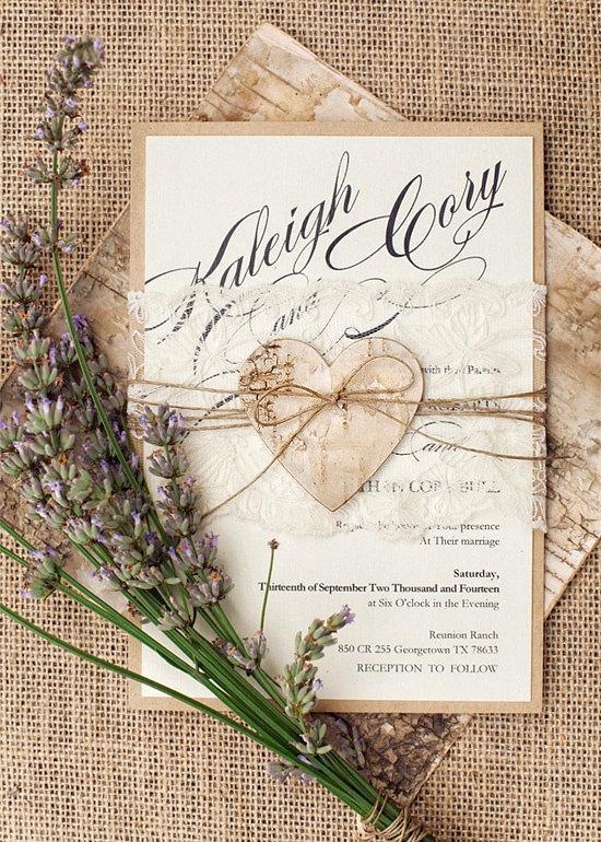 Wedding Invitation Suite 20 Rustic Lace Heart Invitations Birch Bark Eco