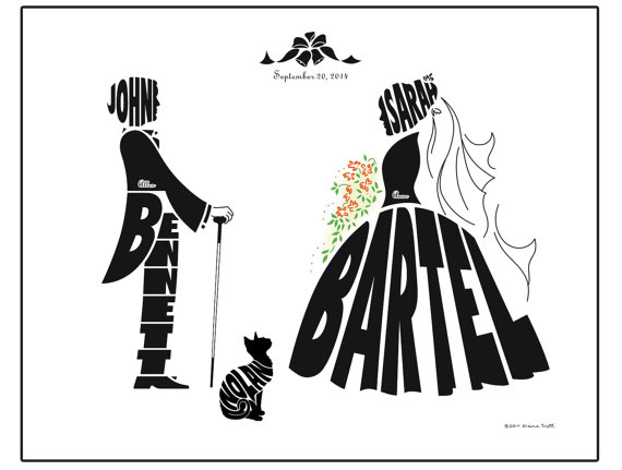 Personalized Bride And Groom Wedding With Dog Or Cat Print Silhouette Name Art Custom Gift