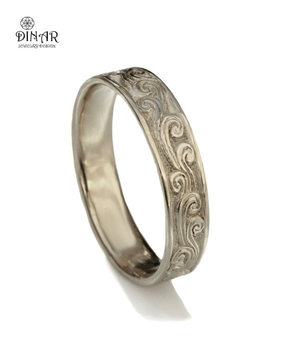 Scrolls Wedding Band 14k White Gold Art Deco Ring Women S Men Solid Engraved Dinar