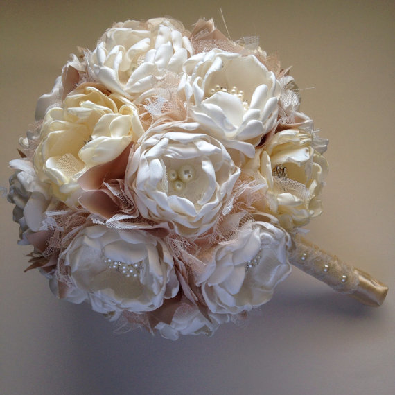 fabric wedding flowers fabric bouquet large size ivory and 3964