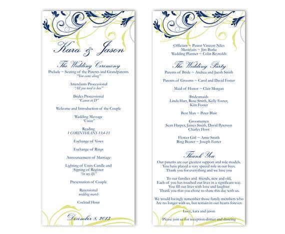 Wedding Program Template Diy Editable Word File Instant Navy Blue Fl Printable 4x9 25
